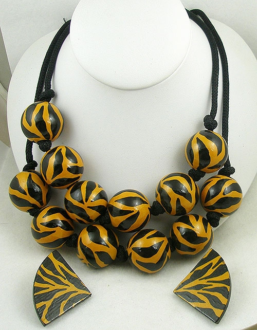 Sets & Parures - Funky Tiger Stripe Beads Double Necklace Set