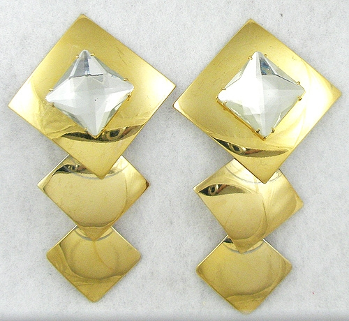 Earrings - Gold Squares and Rhinestone Earrings