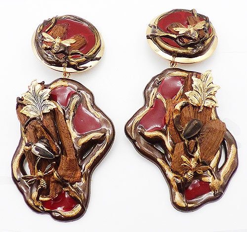 Newly Added Red Enamel Resin and Wood Collage Earrings