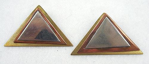 Earrings - Mixed Metal Triangle Earrings