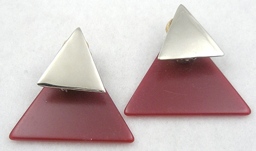 Earrings - Red Plastic and Silver Triangle Earrings