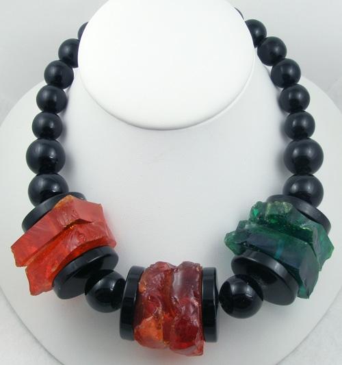 Necklaces - Giant Lucite Slab Black Bead Necklace