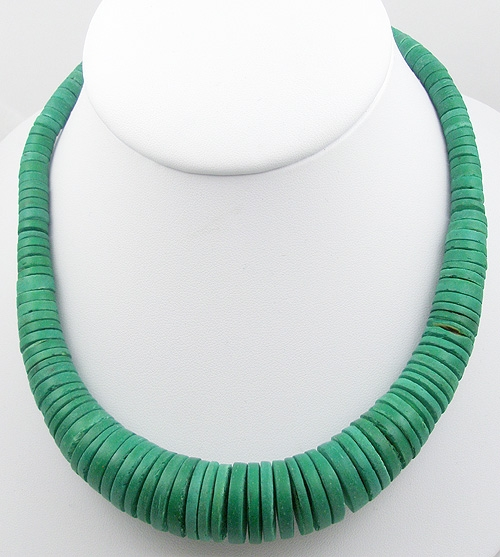Ethnic & Boho - Green Graduated Heishi Bead Necklace