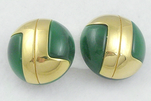Misc. Signed G-L - Lanvin Green Lucite Earrings