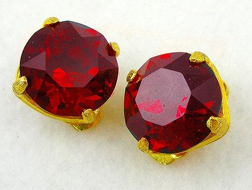 Earrings - Red Rhinestone Earrings