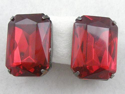 Earrings - Rectangular Red Rhinestone Earrings