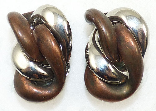 Newly Added Copper and Silver Chain Link Earrings