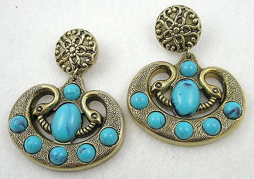 Figural Jewelry - Snakes Turtles Reptiles - Egyptian Faux Turquoise Snake Earrings