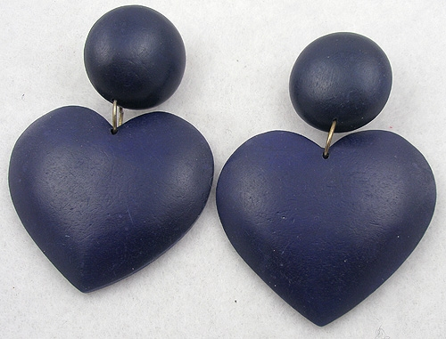 Hearts - Navy Wooden Heart Earrings
