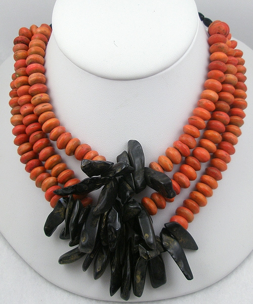 Autumn Fall Colors Jewelry - Orange Bead Golden Obsidian Tribal Necklace