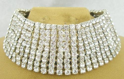 Bridal, Wedding, Special Occasion - Rhinestone Dog Collar Statement Necklace