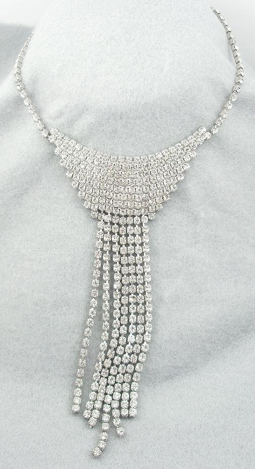 Necklaces - Long Rhinestone Fringe Necklace