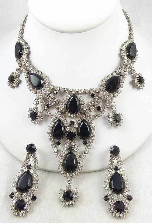 Misc. Signed A-F - Dominique Black Rhinestone Necklace Set