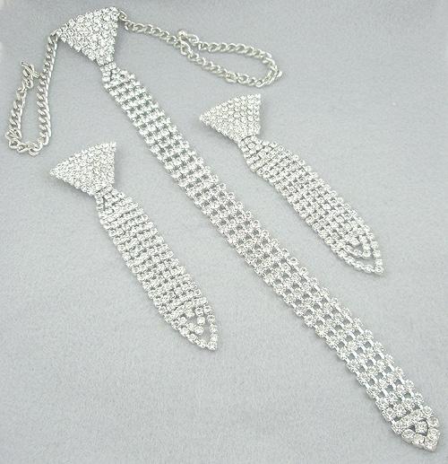 Bridal, Wedding, Special Occasion - Rhinestone Necktie Necklace Set