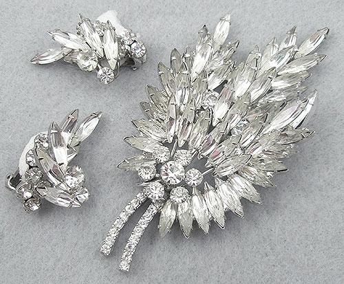 DeLizza & Elster/Juliana - DELizza & Elster Rhinestone Navettes Leaf Brooch Set