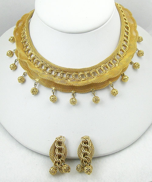 Sets & Parures - Gold Mesh Chain Necklace Set