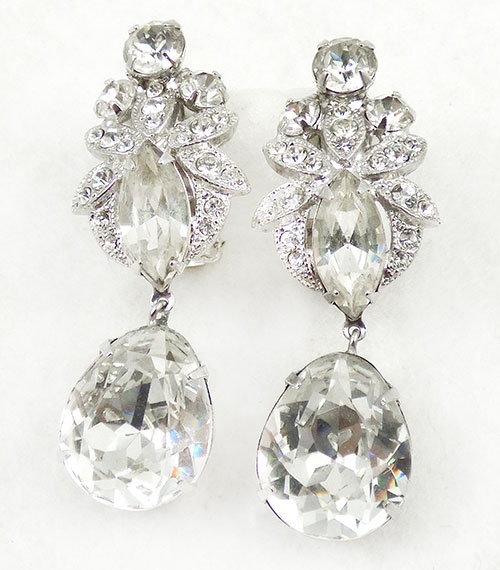 Eisenberg Crystal Rhinestone Drop Earrings Garden Party Collection Vintage Jewelry