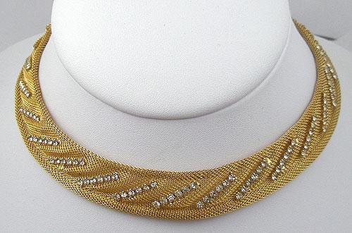 Carnegie, Hattie - Hattie Carnegie Gold Mesh Rhinestone Necklace