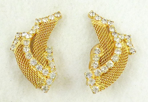 Earrings - Gold Mesh Ribbon Earrings