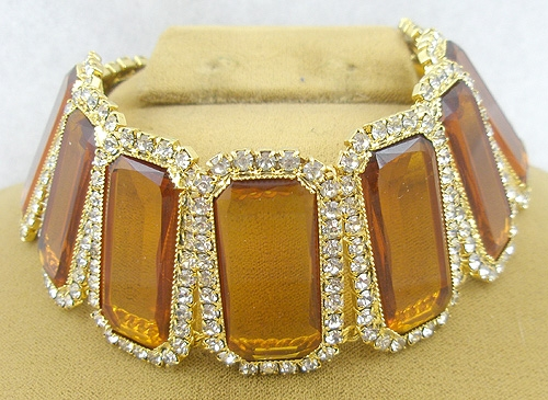 Autumn Fall Colors Jewelry - Topaz Rhinestone Dog Collar Statement Necklace