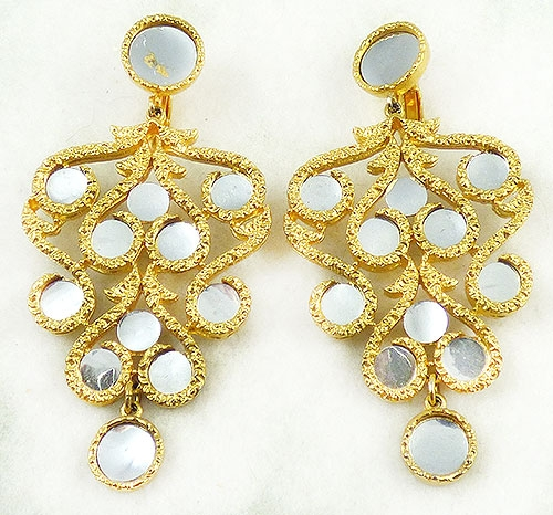 Earrings - Mirrored Gold Chandelier Earrings
