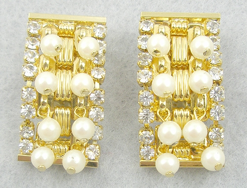 Pearl Jewelry - Hobé Rhinestone & Faux Pearl Earrings
