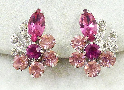 Earrings - Eisenberg Pink Rhinestone Earrings