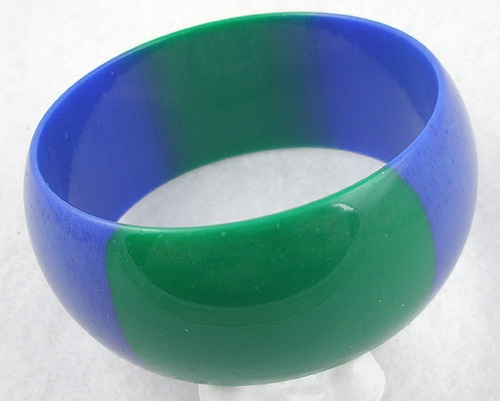 Bracelets - Laminated Blue & Green Plastic Bangle