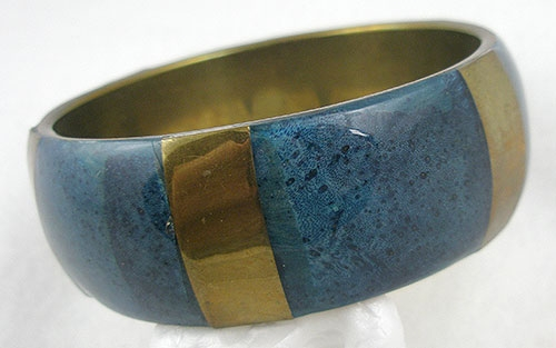 Miscellaneous Countries - India Blue Enameled Brass Bangle