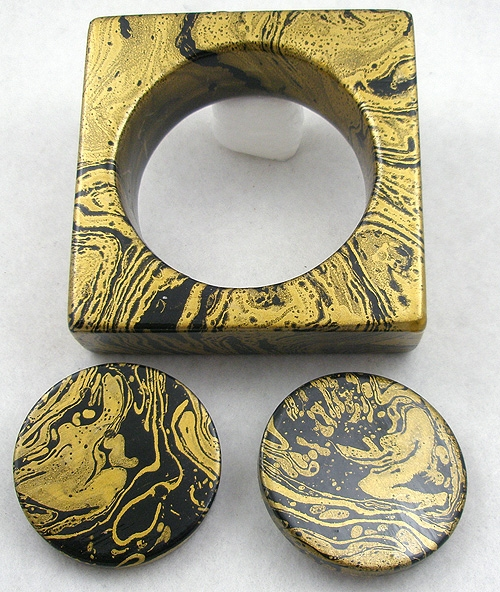 Autumn Fall Colors Jewelry - Black & Gold Swirl Square Bangle & Earrings Set