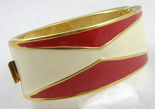 Monet - Monet Cream/Red Enamel Hinged Bracelet