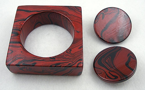 Sets & Parures - Red & Black Swirl Square Bangle & Earrings Set