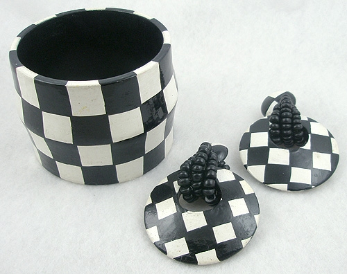 Wooden Jewelry - Back & White Checkerboard Bangle  Set