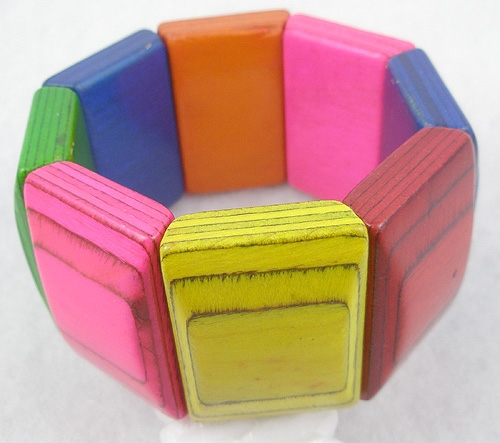 Bracelets - Colorful Painted Wood Stretchy Bracelet