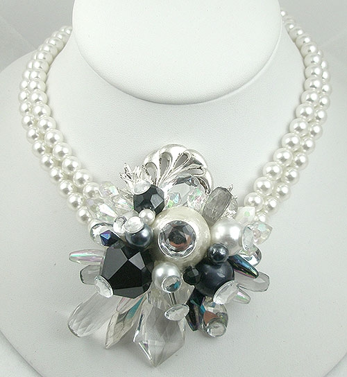 Necklaces - Huge Faux Pearl & Crystal Collage Necklace