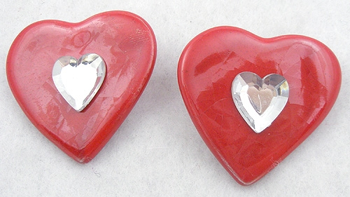 Hearts - Red Ceramic Heart Earrings