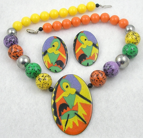 Figural Jewelry - People & Hands - Colorful Enamel Centerpiece & Beads Necklace Set