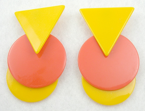 Summer Hot Colors Jewelry - Yellow & Orange Pop Art Earrings