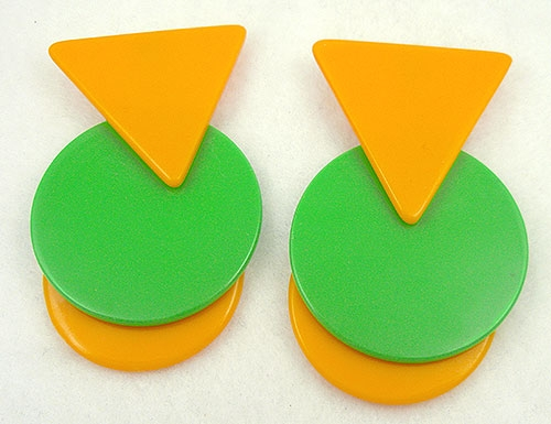 Pop Art - Yellow & Green Pop Art Geometric Shapes Earrings