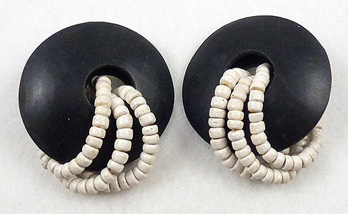 Earrings - Black Disc and White Bead Earrings
