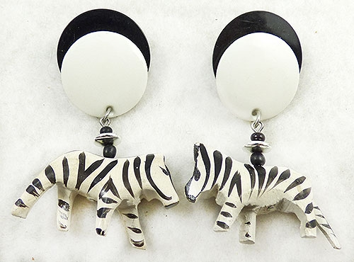 Figural Jewelry - Animals - Dangling Wooden Zebra Earrings