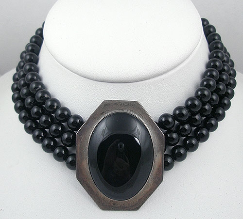 Misc. Signed S-Z - Elizabeth Whitman Navajo Sterling & Onyx Bead Necklace