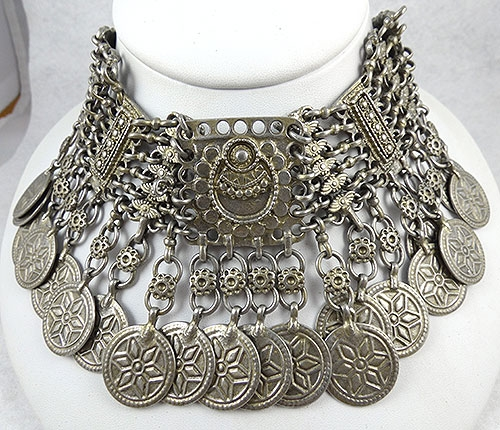 Necklaces - Ben-Amun Silver Coin Choker Necklace