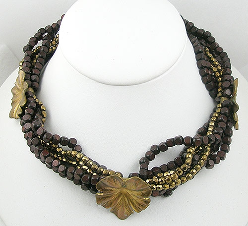 Autumn Fall Colors Jewelry - Wood & Bronze Bead Torsade Necklace