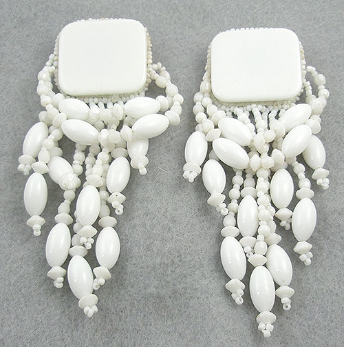 Ethnic & Boho - White Bead Chandelier Earrings