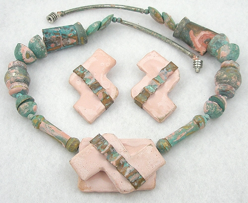 Ethnic & Boho - Clay and Metal Necklace Set