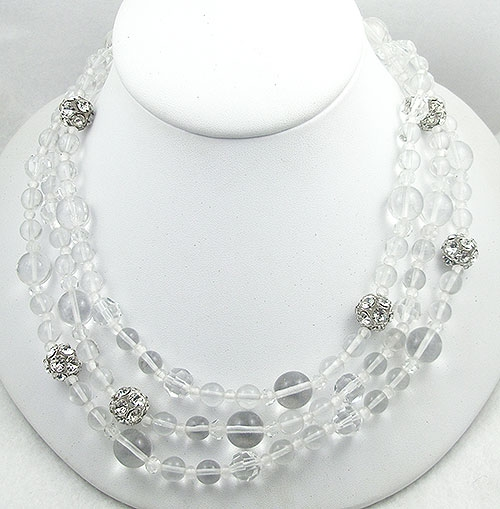 Crystal Bead Jewelry - Crystal and Rhinestone Bead Necklace