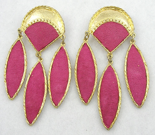 Trend:Wearable Art Earrings - Thelma Deutsch Fuchsia Suede Earrings