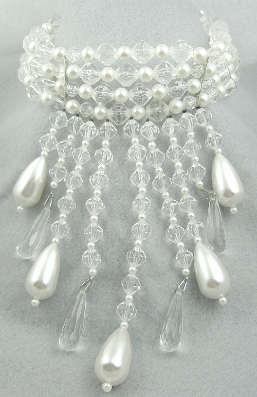 Bridal, Wedding, Special Occasion - Crystal Bead and Pearl Drop Bib Necklace