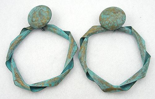 Earrings - Twisted Brass Verdigris Hoop Earrings